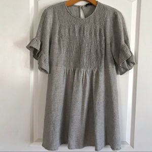 Zara Gray Short Sleeve Smocked Dress